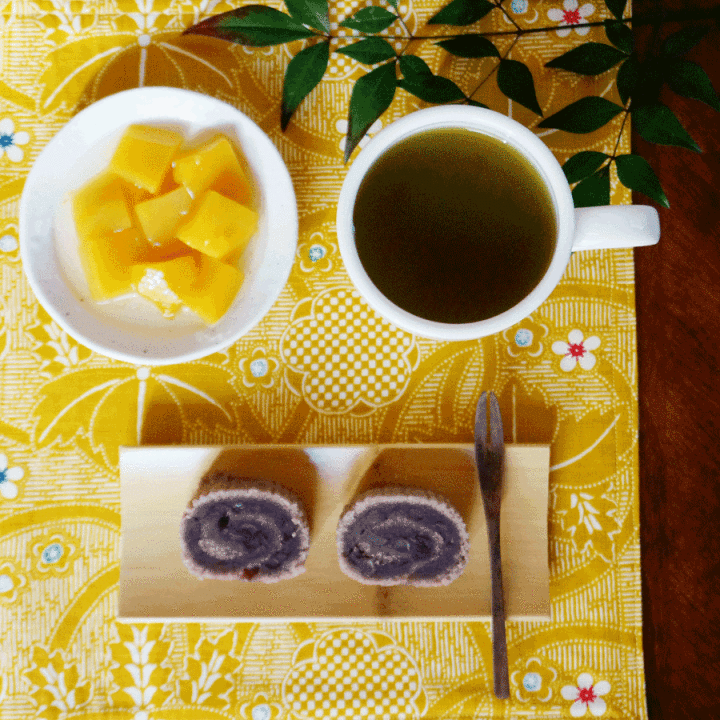 MATCHA at NOON with Kyokanze sweet Adzuki bean rolls with chunk mango