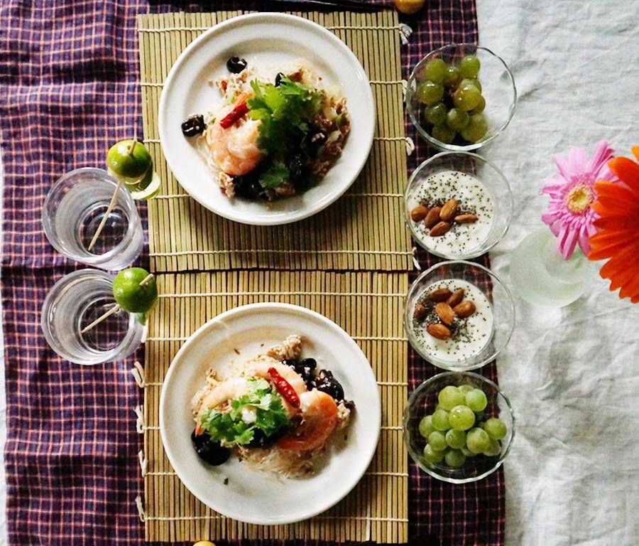 bkf = Yum Un Sen Thai noodle salad,