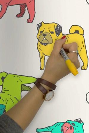 Murals Wallpaper Colouring Pug Wallpaper | Vanillapup