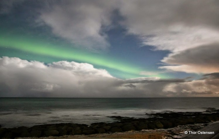 The Northern Lights over ocean