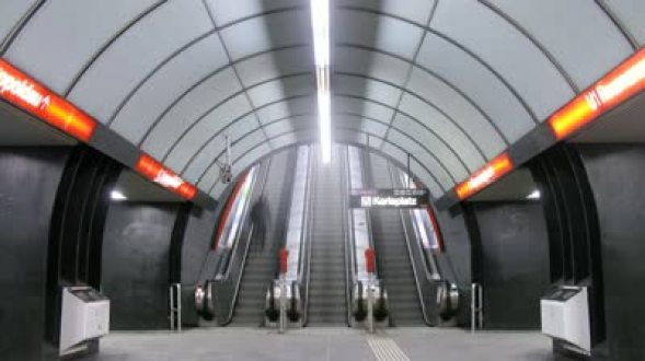 stock-footage-vienna-feb-timelapse-view-people-go-on-escalator-to-subway-on-feb-in-vienna