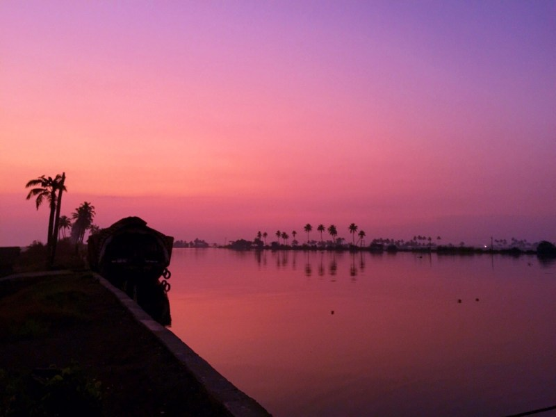 backwaters kerala pink sunset
