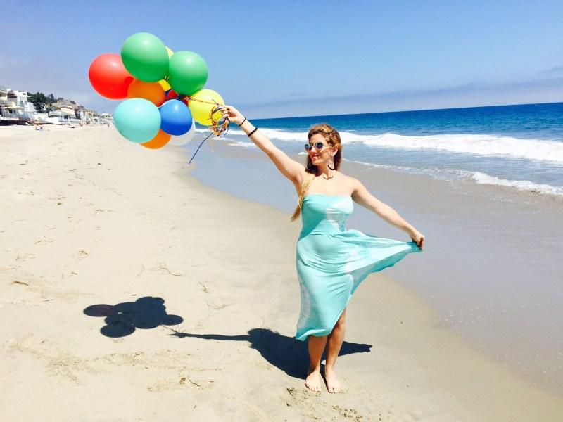 girl on beach balloons - vanilla sky dreaming