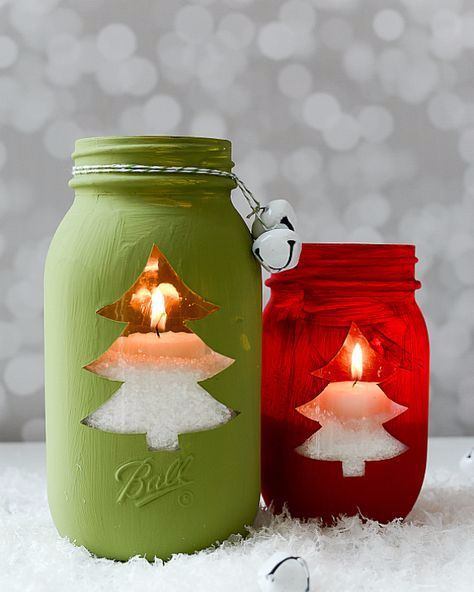 Painted Christmas Candles Jar
