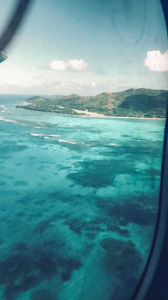 Arrival on Praslin Island by plane
