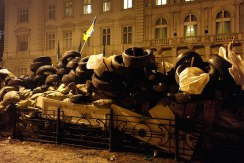 Barricades at the occupied regional administration
