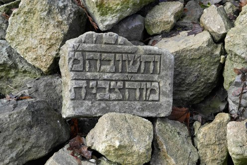 Fragments of tombstones at the territory of the former Jewish cemetery