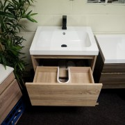 EDEN 600mm White Oak Timber Look Wood Grain Wall Hung Vanity-33