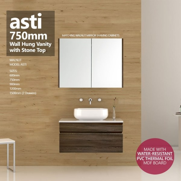 ASTI-750mm-Walnut-Oak-PVC-THERMAL-FOIL-Wood-Grain-Wall-Hung-Vanity-w-Stone-Top-252920578440