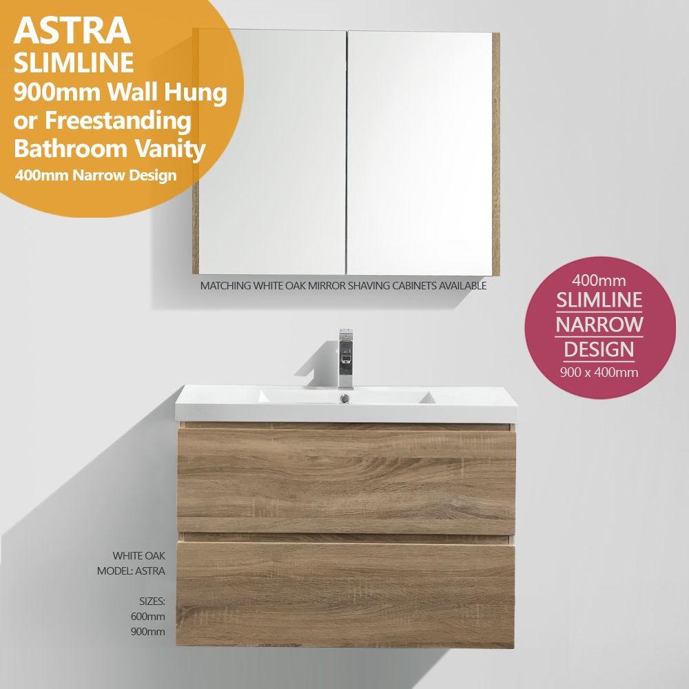 Astra slimline 900mm white oak timber wood grain narrow for Bathroom cabinets 400mm wide