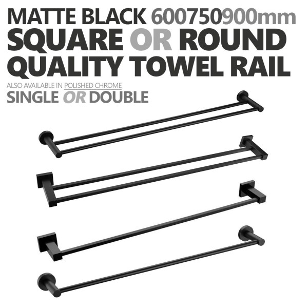 ROUNDSQUARE-Matte-Black-600mm-750mm-900mm-Single-Double-Towel-Rail-Rack-Holder-252646917180
