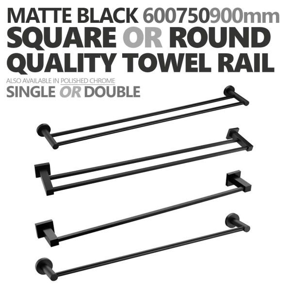 ROUNDSQUARE-Matte-Black-600mm-750mm-900mm-Single-Double-Towel-Rail-Rack-Holder-252646917180
