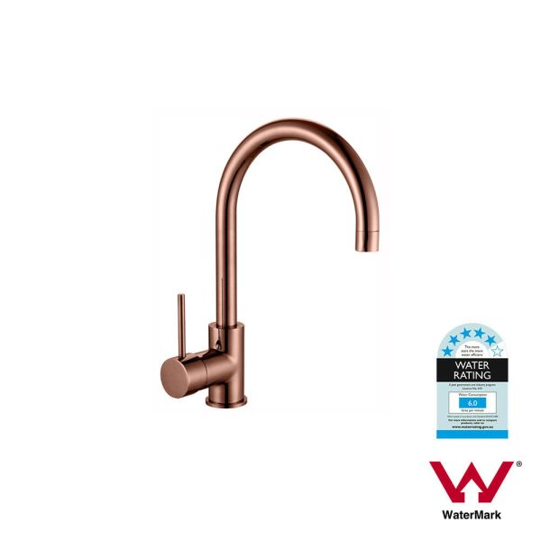 Round-ROSE-GOLD-Gooseneck-Lollipop-Swivel-Mid-Rise-PVD-Electroplated-Sink-Mixer-253416172040