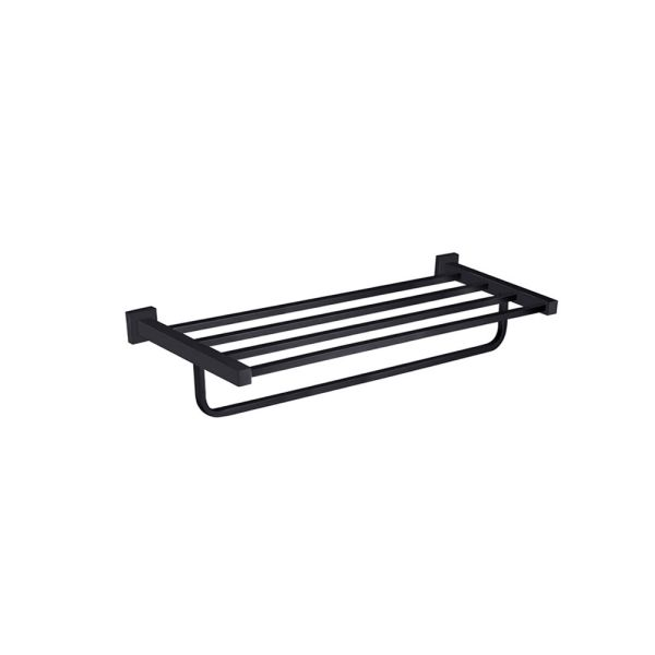 Solid-Brass-MATTE-BLACK-Square-Double-Shelf-Multi-Storage-Towel-Rack-Rail-Holder-252663570470
