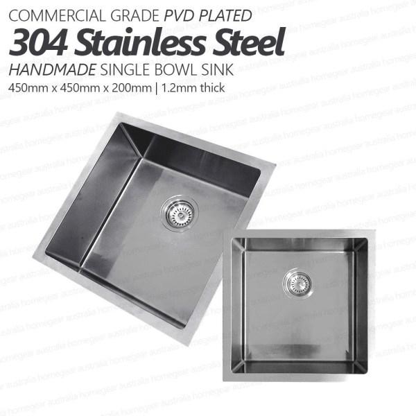 450mm-Square-Handmade-304-Grade-Stainless-Steel-Single-Bowl-LaundryKitchen-Sink-253206094302