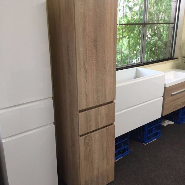 1680mm-White-Oak-Timber-Wood-Grain-Bathroom-Tallboy-Side-Cabinet-w-Glass-Shelves-252942799223