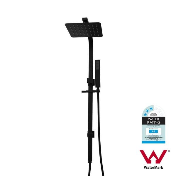 8-Slim-Square-Matte-Black-2-in-1-Sliding-Shower-Rail-Set-w-Handheld-Hand-Shower-252989190953