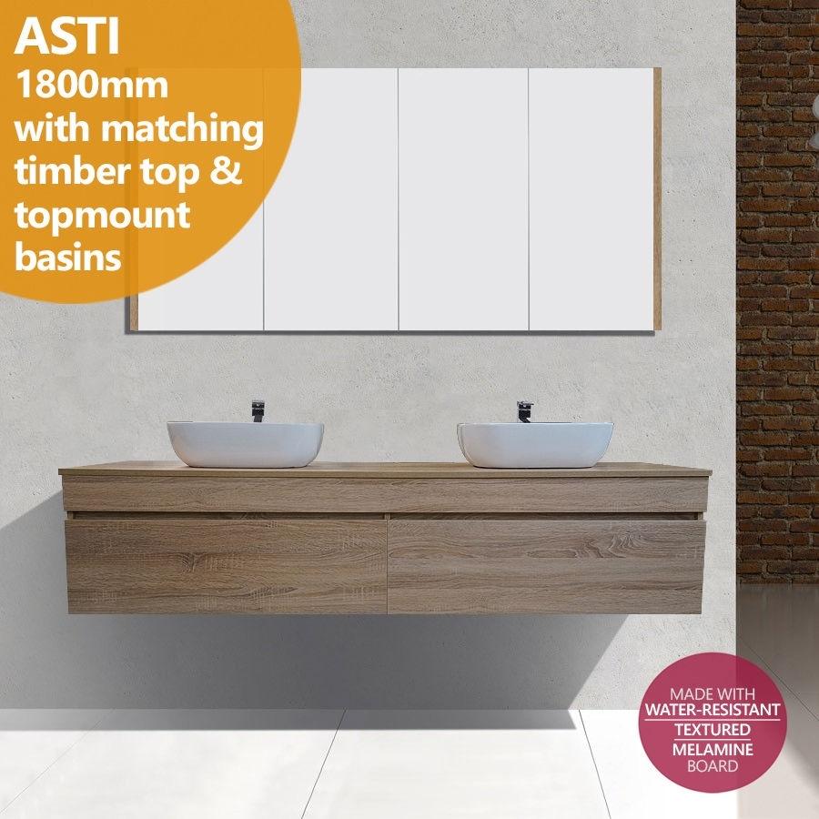 ASTI | 1800mm White Oak Timber Wood Grain Wall Hung Double Vanity ...