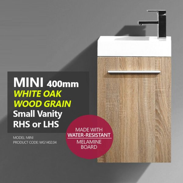 MINI-Compact-400mm-White-Oak-Timber-Wood-Grain-Small-Slim-Narrow-Ensuite-Vanity-254217735194