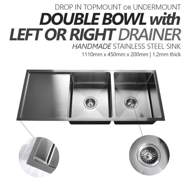 1110mm-Double-Bowl-w-Drainer-Premium-Stainless-Steel-Kitchen-Sink-Round-Waste-253530875645