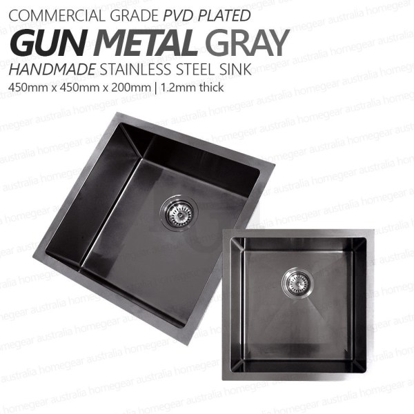450mm-Square-GUN-METAL-GRAY-Premium-PVD-304-Stainless-Steel-LaundryKitchen-Sink-253205928475
