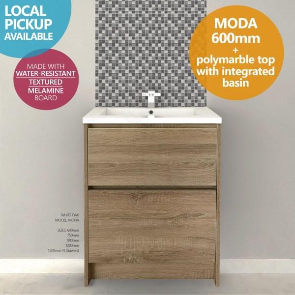 MODA-600mm-White-Oak-Timber-Wood-Grain-FloorFreestanding-Vanity-w-Polymarble-252681321205