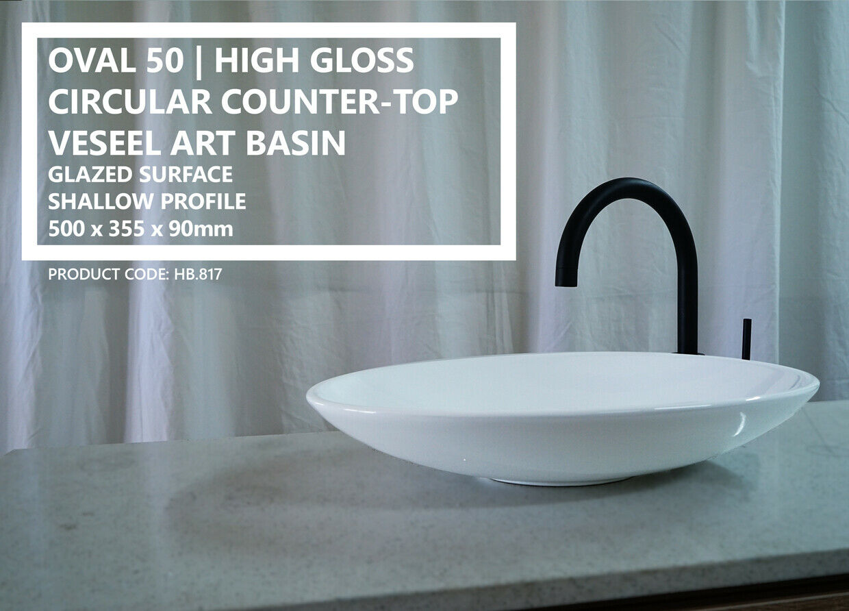 oval 50 oval shallow gloss white solid ceramic above counter basin