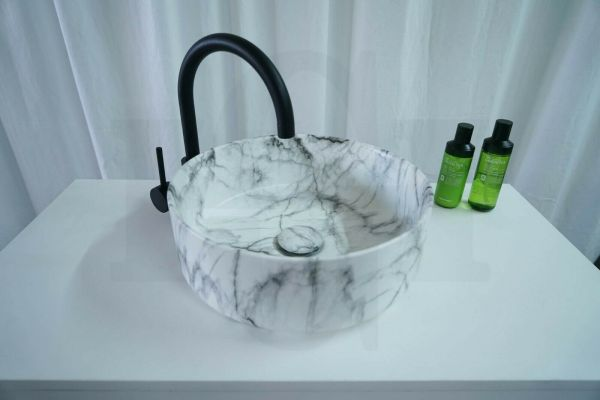 SALE-Round-Carrara-Marble-Above-Counter-Vanity-Basin-Bowl-w-FREE-Matching-Waste-254414621486-2