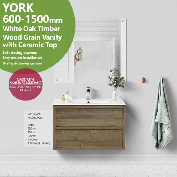 YORK-600-750-900-1200-1500mm-White-Oak-Timber-Wood-Grain-Shaker-Bathroom-Vanity-254451059036