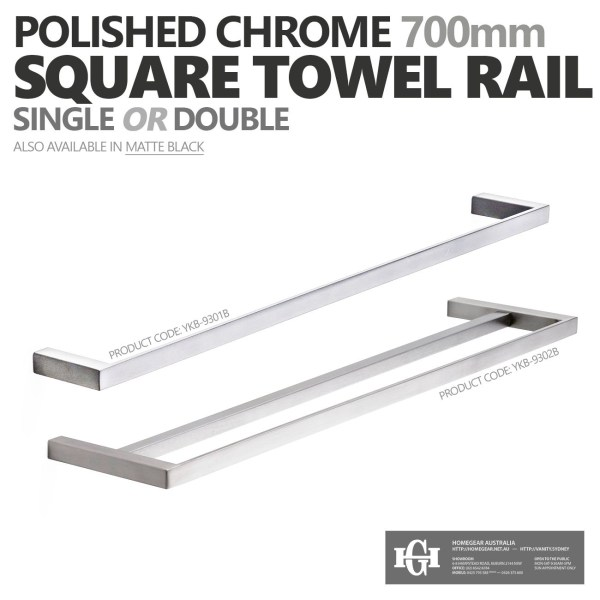 MODERN-Square-700mm-Chrome-Metal-Single-or-Double-Bathroom-Towel-RailRack-252520860917