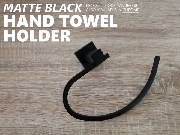 Modern-MATTE-BLACK-Brass-Square-Curved-Small-Face-or-Hand-Towel-Holder-Ring-Rail-252663915817