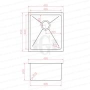 450mm-Square-GUN-METAL-GRAY-Premium-PVD-304-Stainless-Steel-LaundryKitchen-Sink-253205994058-2