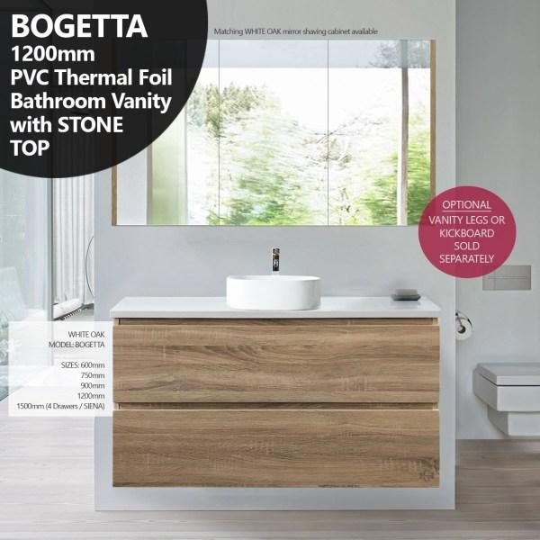 BOGETTA-1200mm-White-Oak-PVC-THERMAL-FOIL-Timber-Wood-Grain-Vanity-w-Stone-Top-252958442378