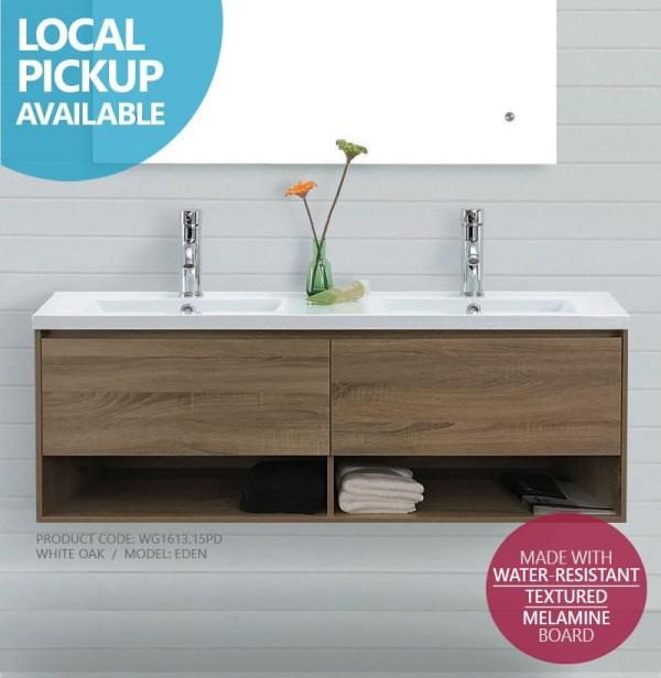 EDEN-1500mm-White-Oak-Timber-Wood-Grain-Wall-Hung-Double-Vanity-w-Towel-Shelf-252690600298