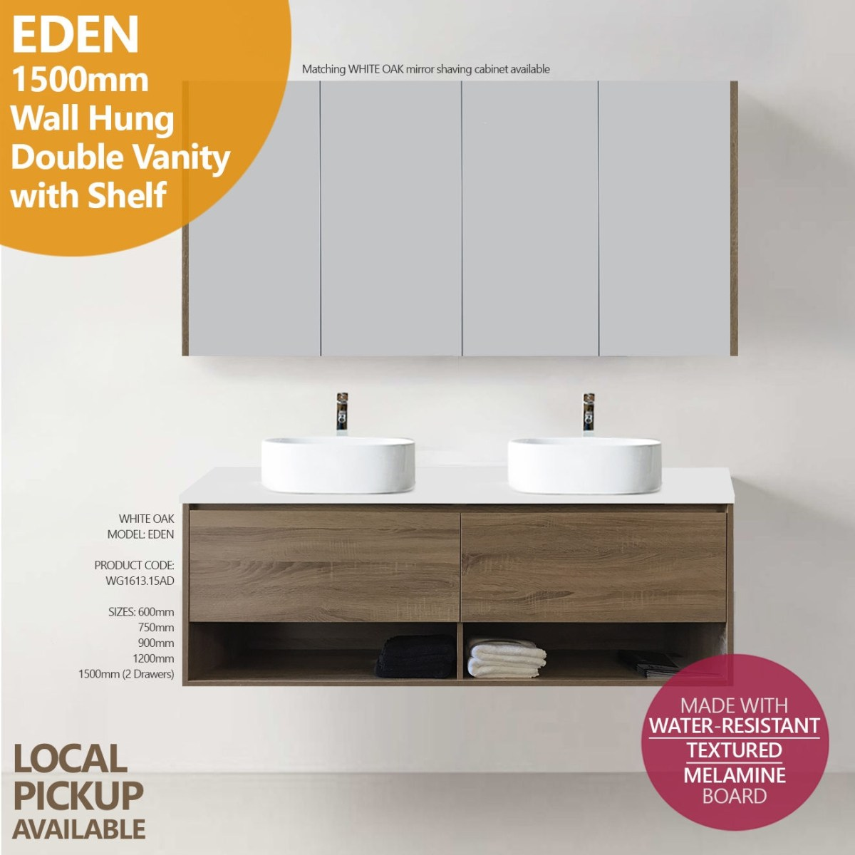 Eden 1500mm White Oak Timber Wood Grain Wall Hung Double