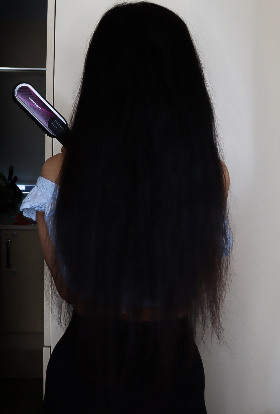 Before and After using the Liberex Hair Straightening Brush