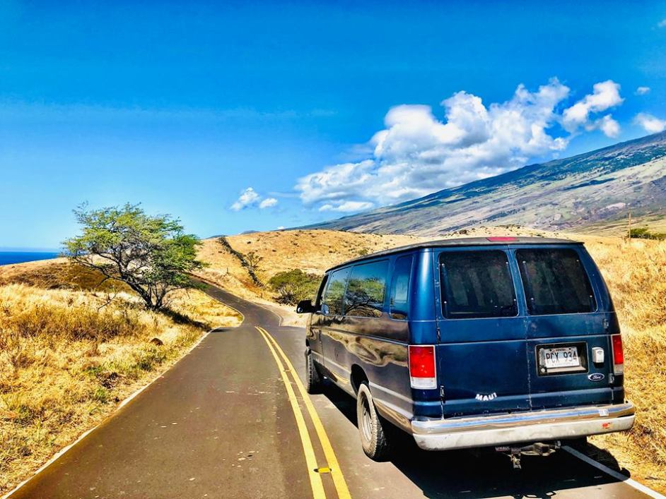royal blue campervans rental maui campers vans hana highway bluesky palm tree