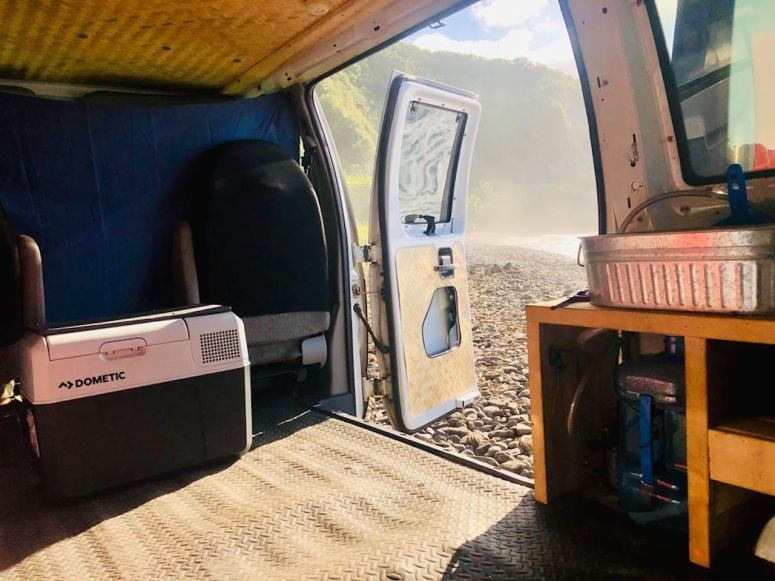 night royal blue camping campfire campground camping rental maui campstove fire refrigerator dometic sink water blackout curtains hana highway