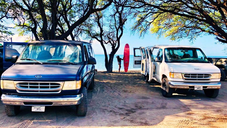 maui campervan rental campers rent rv motorhome national park pass campgrounds campsite campfire fully equipped spacious affordable vans romantic getaway adventures best trip island shaka surfing board olowalu beach