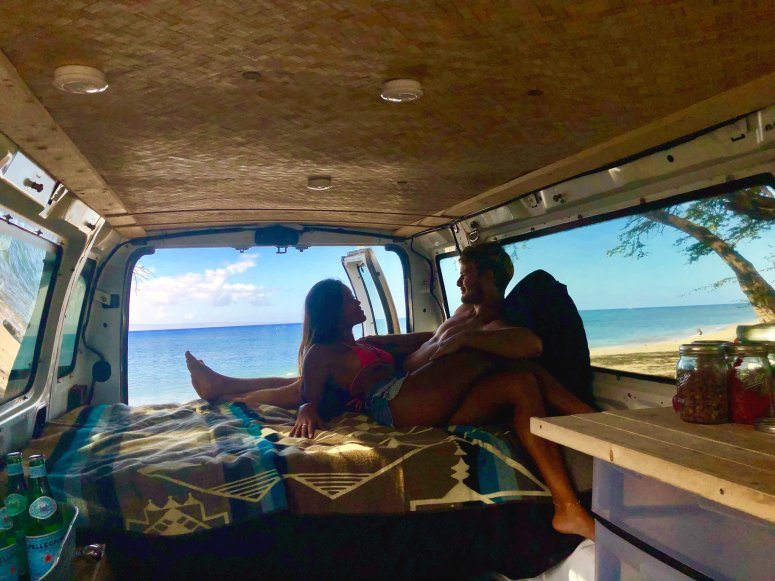 lovers couple maui campervan rental lahaina surfing diving chilling on the beach romantic getaway camping campsite campground island amazing human aloha