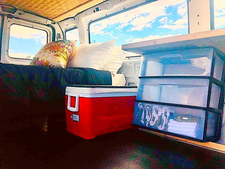 cloud 9 vanlife maui campervan rental bedding foam mattress with sheet pillows cooler drawers fully equipped off grid