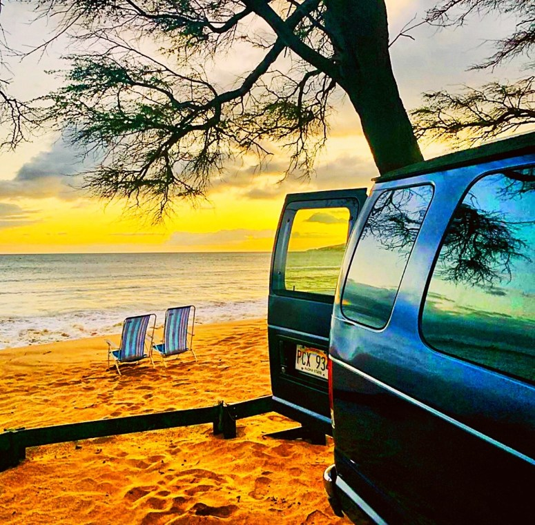 5stars view vanlife maui campervan rental fully equipped off grid living 2 people vacation romantic best views on the beach open doors campsite 2 beach chairs sunset view