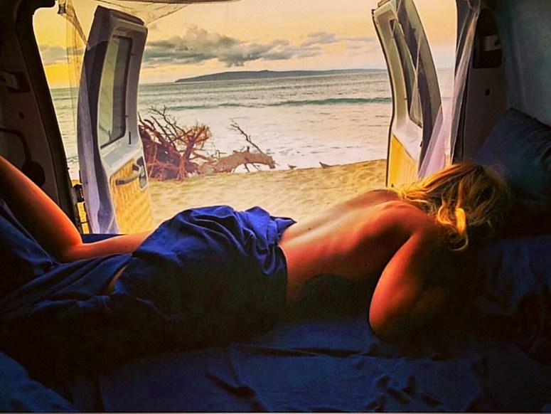 best sleep on the beach royal blue campervan rental fully equipped royal blue van off grid living