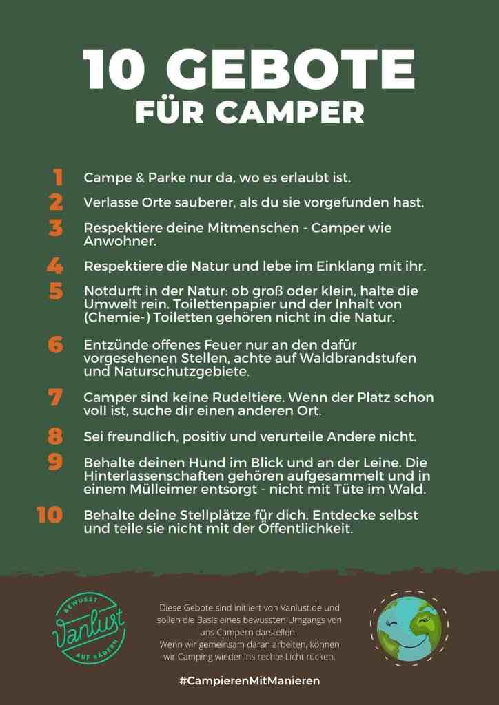 10 Gebote für Camper #CampierenMitManieren