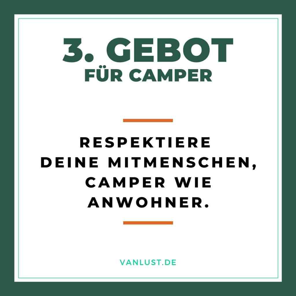 3. Gebot für Camper - 10 Gebote