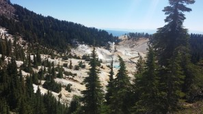 Looking down onto Bumpass Hell from the trail. FAITH MECKLEY