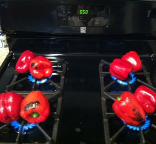 Red Peppers on fire