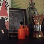 BFF perfume bottles, Saudi Arabian incense burner, Laurie's Little Red Riding Hood Vase, Mandala and Head's Up