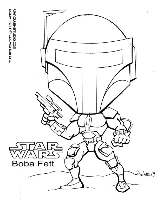 boba fett coloring page # 46