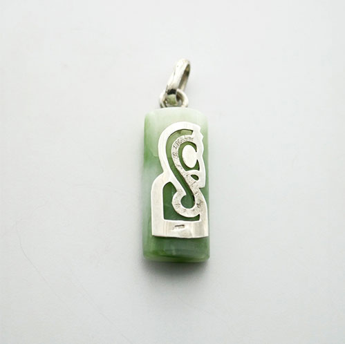 FERN CARVING MINI PROFIL PENDANT SET ON GEMSTONE STERLING SILVER